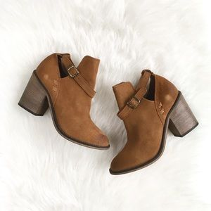"Rebels ""Cognomen"" Tan Suede Ankle-strap Booties, 8"
